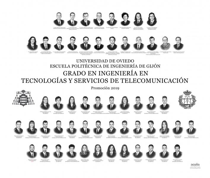 Orla del Grado en Ingeniería y Servicios de Telecomunicación de la Escuela Politécnica de Ingeniería de Gijón E.P.I. - Promoción 2019