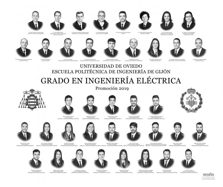 Orla del Grado en Ingeniería Electrica de la Escuela Politécnica de Ingeniería de Gijón E.P.I. - Promoción 2019