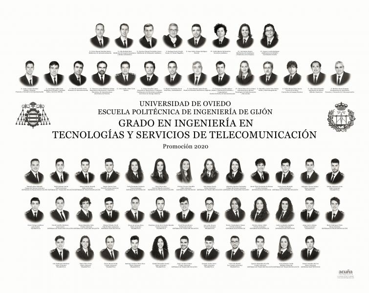 Orla del Grado en Ingeniería y Servicios de Telecomunicación de la Escuela Politécnica de Ingeniería de Gijón E.P.I. - Promoción 2020