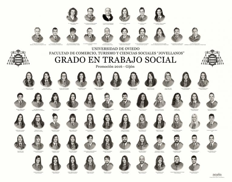 """Orla del Grado en Trabajo Social de la Facultad de Comercio, Turismo y Ciencias Sociales """"Jovelanos"""" Gijón - Promoción 2016"""