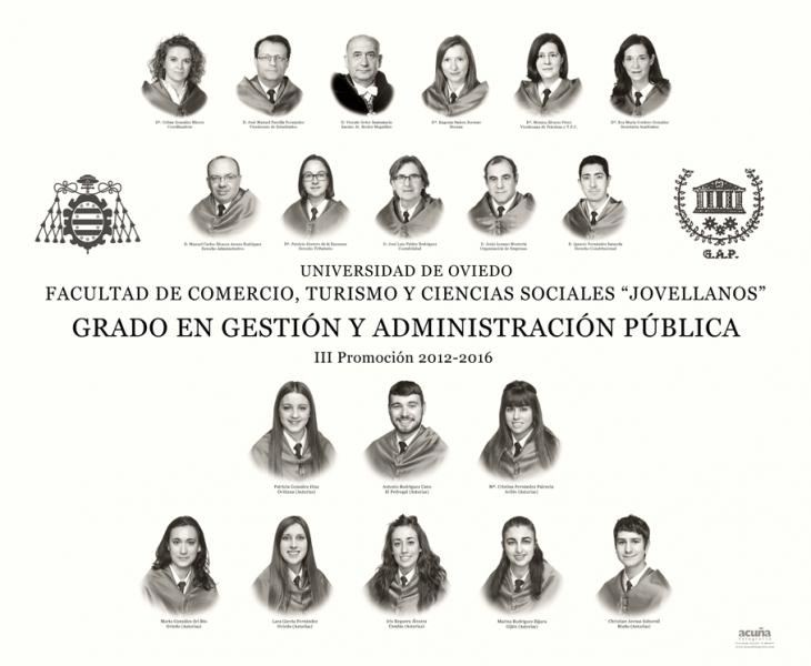 """Orla del Grado en Gestión y Administración Pública de la Facultad de Comercio, Turismo y Ciencias Sociales """"Jovelanos"""" Gijón - Promoción 2016"""