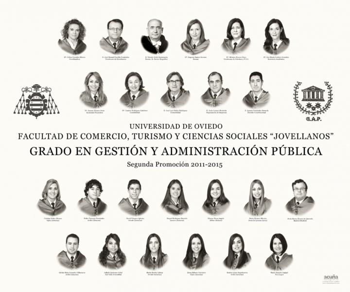 """Orla del Grado en Gestión y Administración Pública de la Facultad de Comercio, Turismo y Ciencias Sociales """"Jovelanos"""" Gijón - Promoción 2015"""
