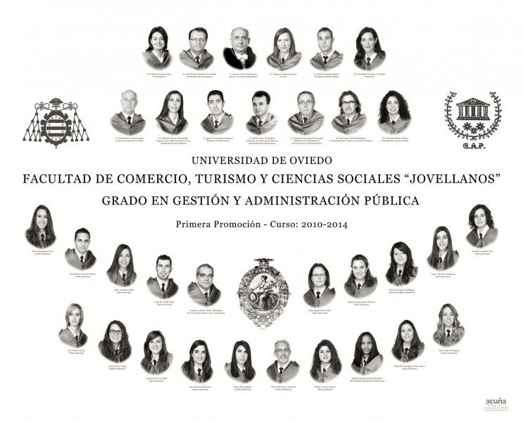 """Orla del Grado en Gestión y Administración Pública de la Facultad de Comercio, Turismo y Ciencias Sociales """"Jovelanos"""" Gijón - Promoción 2014"""
