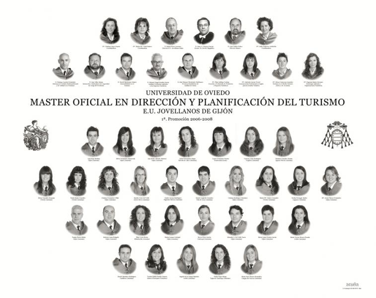 """Orla del Máster en Dirección y Planificación del Turismo de la Facultad de Comercio, Turismo y Ciencias Sociales """"Jovelanos"""" Gijón - Promoción 2008"""