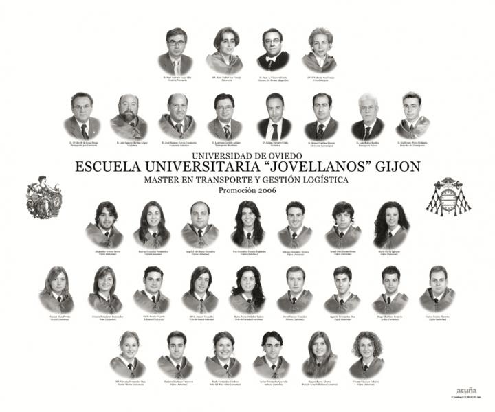 """Orla del Master en Transporte y Gestión Logística de la Facultad de Comercio, Turismo y Ciencias Sociales """"Jovelanos"""" Gijón - Promoción 2006"""