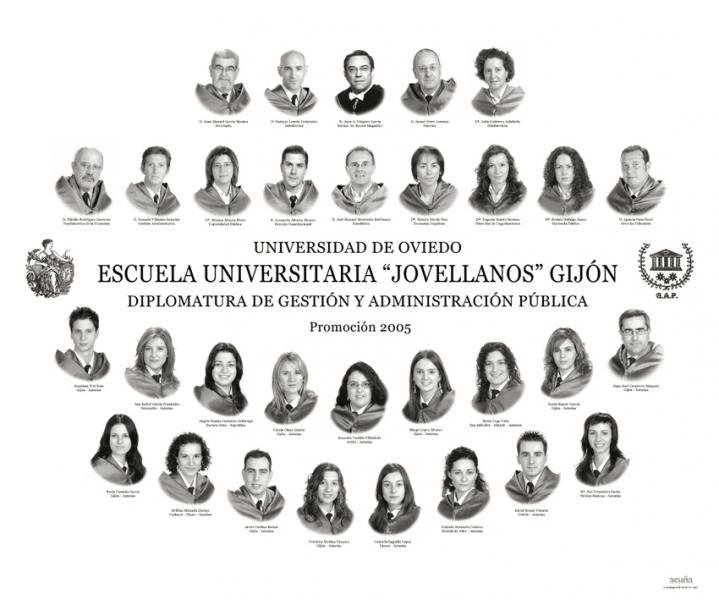 """Orla de la Diplomatura de Gestión y Administración Pública de la Facultad de Comercio, Turismo y Ciencias Sociales """"Jovelanos"""" Gijón - Promoción 2005"""
