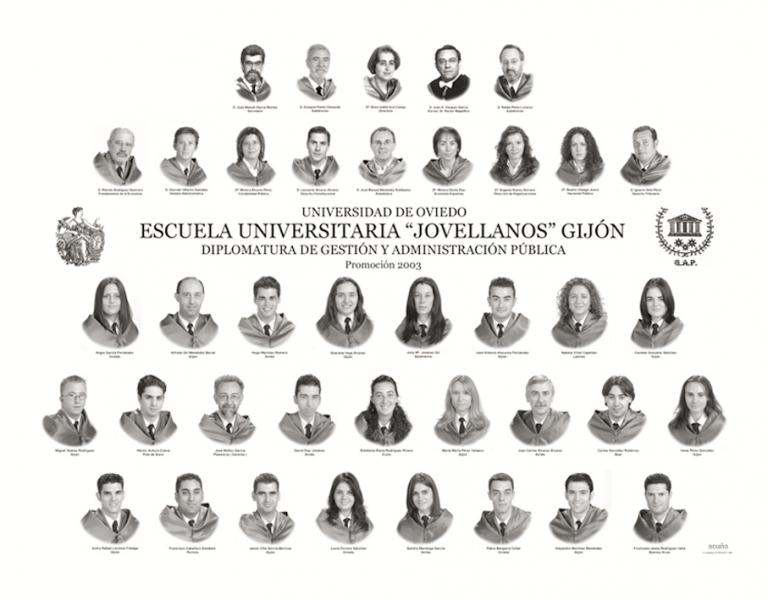 """Orla de la Diplomatura de Gestión y Administración Pública de la Facultad de Comercio, Turismo y Ciencias Sociales """"Jovelanos"""" Gijón - Promoción 2003"""