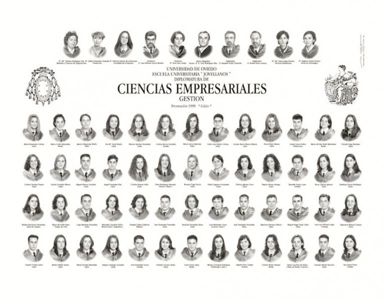 """Orla de la Diplomatura de Ciencias Empresariales (Gestión) de la Facultad de Comercio, Turismo y Ciencias Sociales """"Jovelanos"""" Gijón - Promoción 1999"""