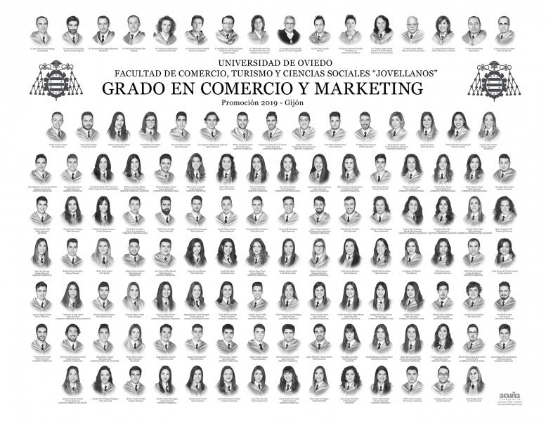 """Orla del Grado en Comercio y Marketing de la Facultad de Comercio, Turismo y Ciencias Sociales """"Jovelanos"""" Gijón - Promoción 2019"""