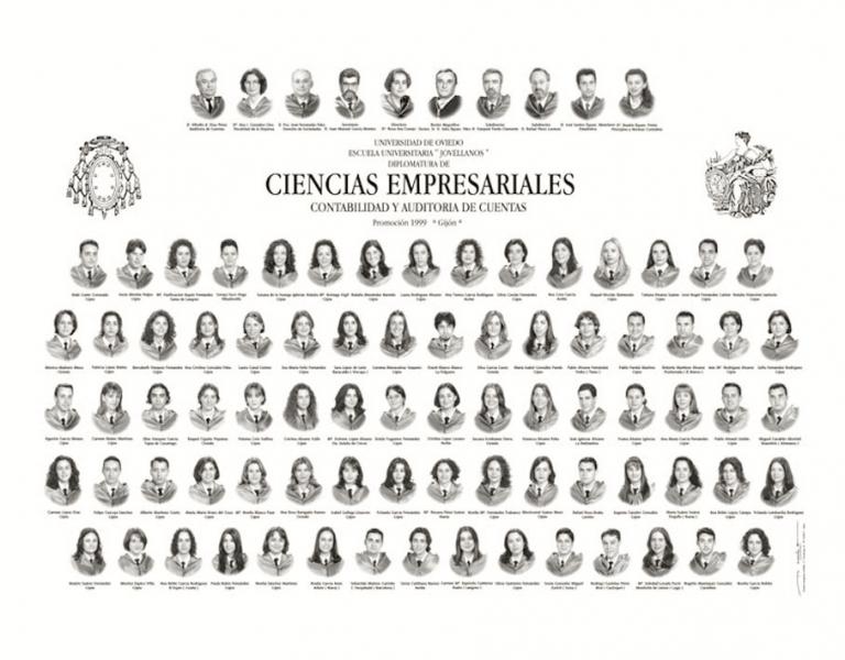 """Orla de la Diplomatura de Ciencias Empresariales (Contabilidad y Auditoría de Cuentas) de la Facultad de Comercio, Turismo y Ciencias Sociales """"Jovelanos"""" Gijón - Promoción 1999"""