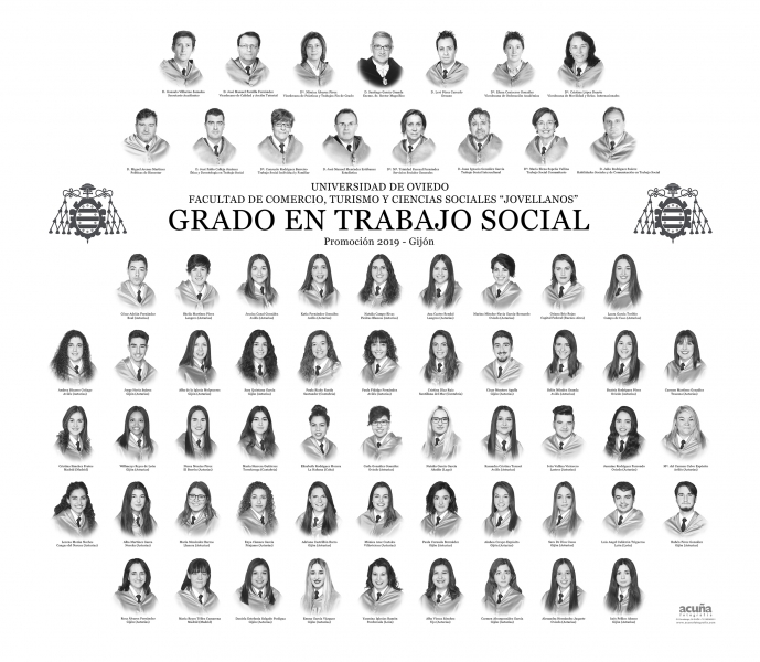 """Orla del Grado en Trabajo Social de la Facultad de Comercio, Turismo y Ciencias Sociales """"Jovelanos"""" Gijón - Promoción 2019"""
