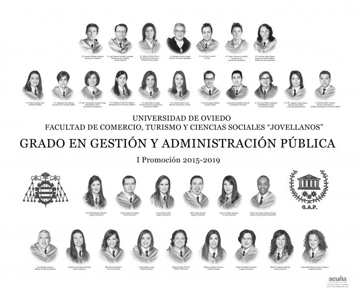 """Orla del Grado en Gestión y Administración Pública de la Facultad de Comercio, Turismo y Ciencias Sociales """"Jovelanos"""" Gijón - Promoción 2019"""