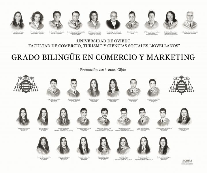 """Orla del Grado en Comercio y Marketing Bilingüe de la Facultad de Comercio, Turismo y Ciencias Sociales """"Jovelanos"""" Gijón - Promoción 2020"""