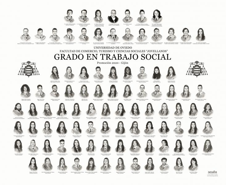 """Orla del Grado en Trabajo Social de la Facultad de Comercio, Turismo y Ciencias Sociales """"Jovelanos"""" Gijón - Promoción 2020"""