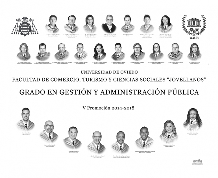 """Orla del Grado en Gestión y Administración Pública de la Facultad de Comercio, Turismo y Ciencias Sociales """"Jovelanos"""" Gijón - Promoción 2018"""