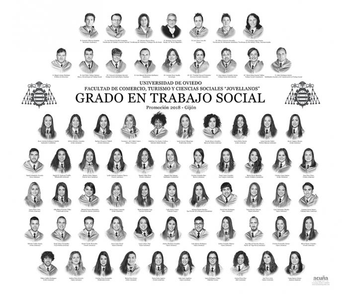 """Orla del Grado en Trabajo Social de la Facultad de Comercio, Turismo y Ciencias Sociales """"Jovelanos"""" Gijón - Promoción 2018"""