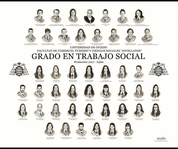 """Orla del Grado en Trabajo Social de la Facultad de Comercio, Turismo y Ciencias Sociales """"Jovelanos"""" Gijón - Promoción 2017"""