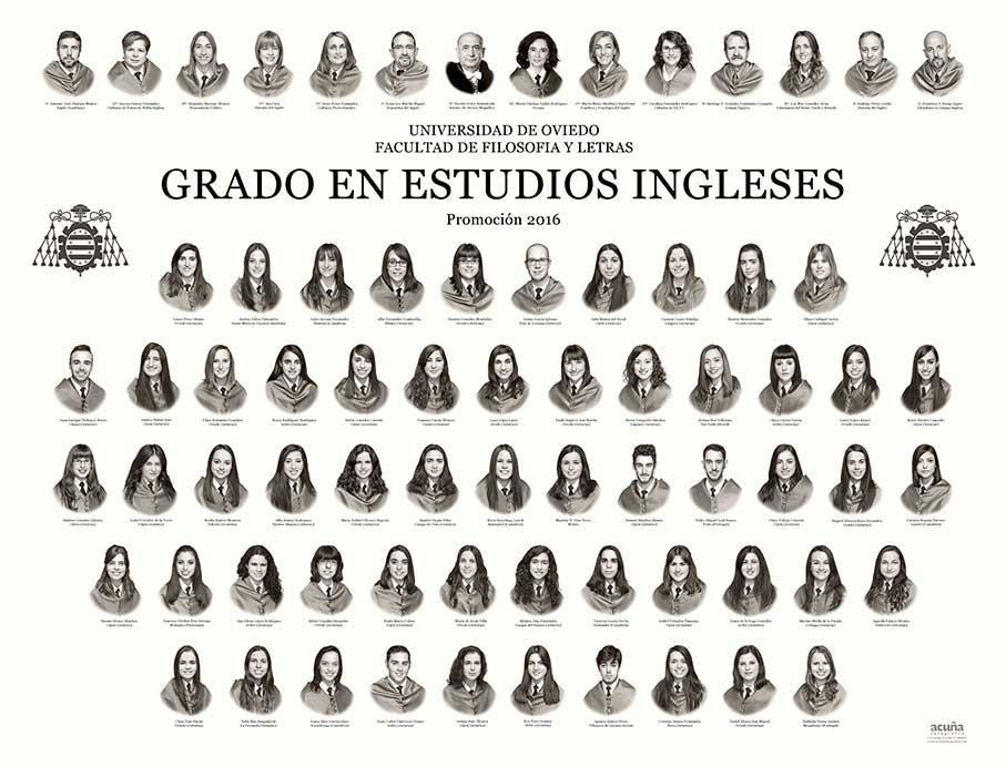 Orla del Grado en Estudios Ingleses 2016 de la Facultad de Filosofía y Letras de la Universidad de Oviedo
