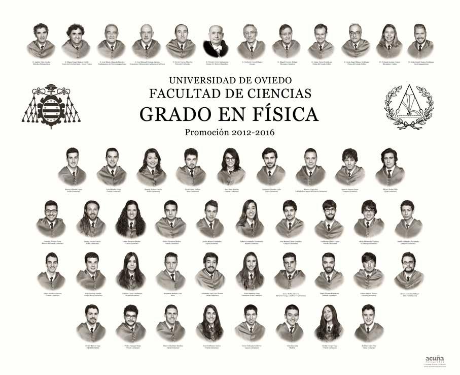 Orla del Grado en Física 2016 de la Facultad de Ciencias de la Universidad de Oviedo