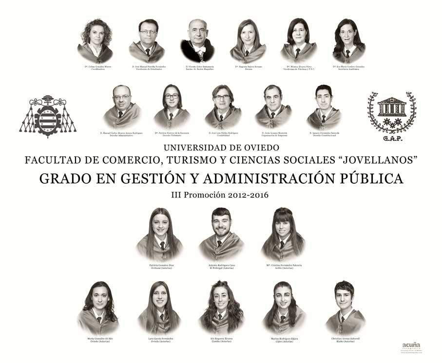 Orla del Grado en Gestión y Administración Pública 2016 de la Facultad de Comercio,Turismo y Ciencias Sociales de la Universidad de Oviedo