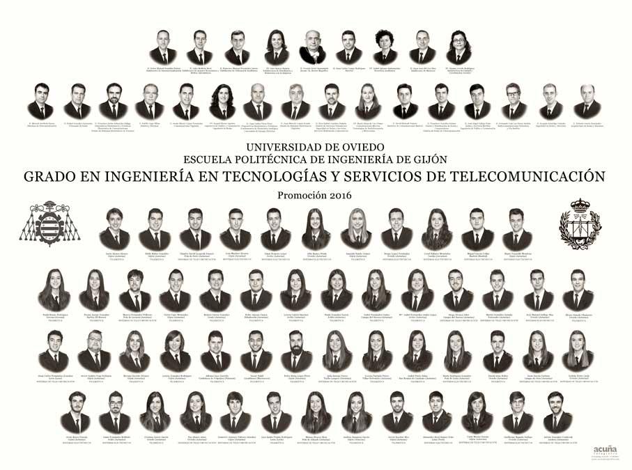 Orla del Grado en Ingeniería en Tecnologías y Servicios de Telecomunicación 2016 de la Escuela Politécnica de Ingeniería de Gijón de la Universidad de Oviedo