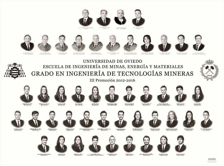 Orla del Grado en Ingeniería de Tecnologías Mineras 2016 de la Escuela de Ingeniería de Minas, Energía y Materiales de la Universidad de Oviedo