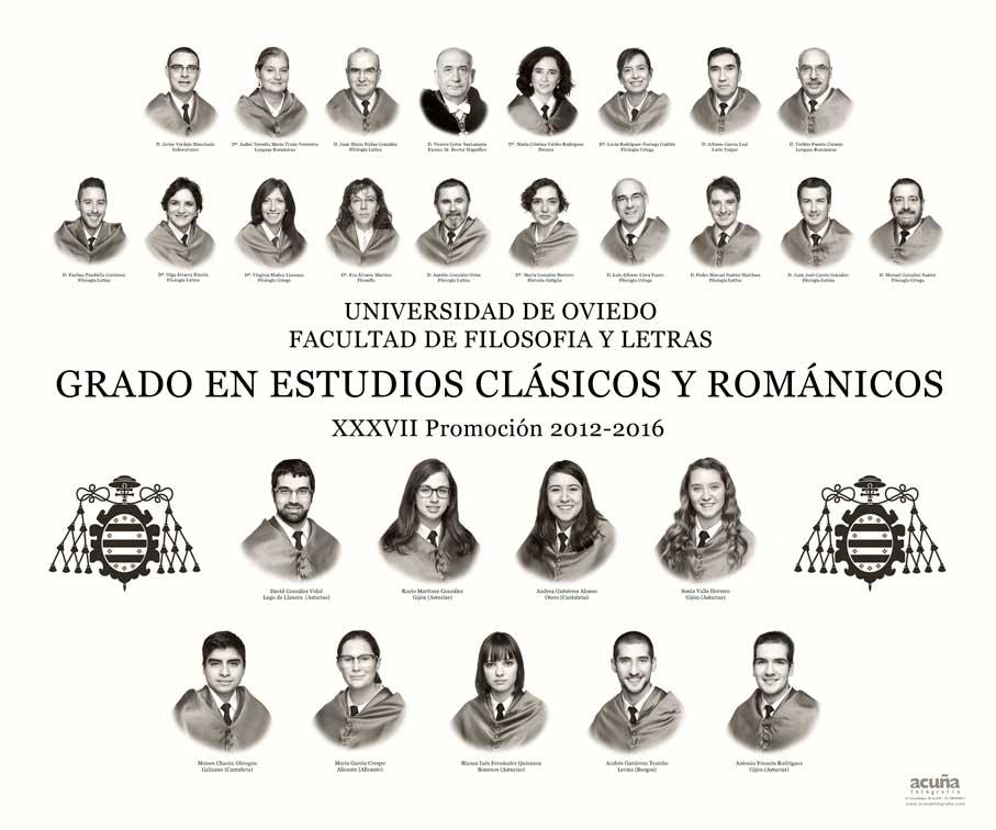 Orla del Grado en Estudios Clásicos y Románicos 2016 de la Facultad de Filosofía y Letras de la Universidad de Oviedo