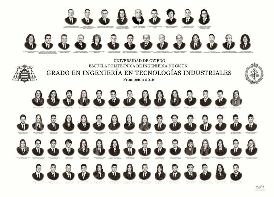 Orla del Grado en Ingeniería en Tecnologías Industriales 2016 de la Escuela Politécnica de Ingeniería de Gijón de la Universidad de Oviedo