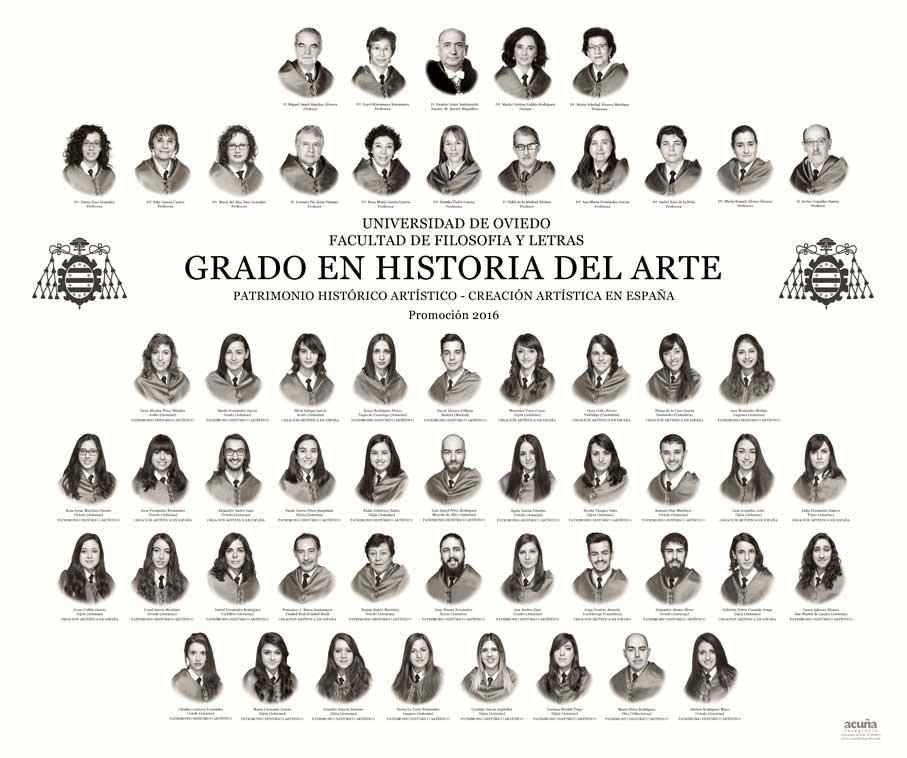 Orla del Grado en Historia del Arte 2016 de la Facultad de Filosofía y Letras de la Universidad de Oviedo