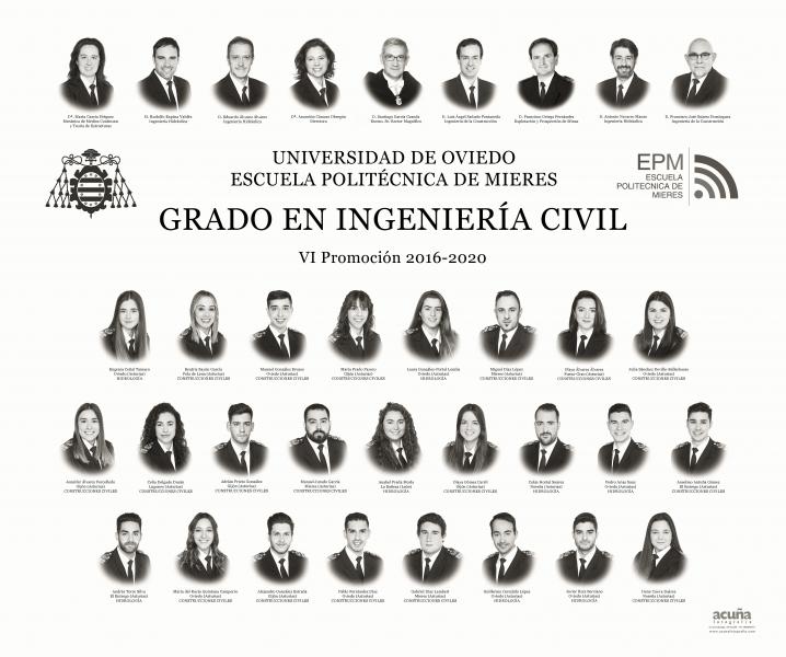 Orla del Grado en Ingeniería Civil  de la Escuela Politécnica de Mieres (Promoción 2020)