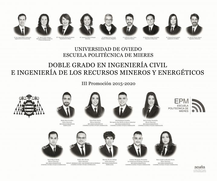 Orla del Doble Grado en Ingeniería Civil e Ingeniería de los Recursos Mineros y Energéticos de la Escuela Politécnica de Mieres (Promoción 2020)